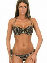 Купальник Despi леопардовое бандо с бирюзовой фурнитурой
