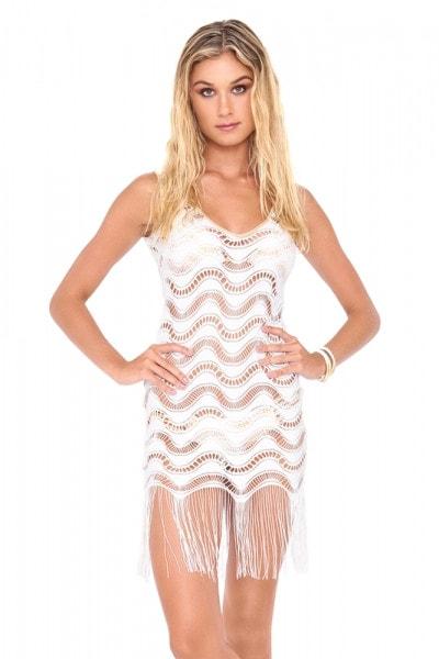 Пляжное платье с бахромой Luli Fama белое с золотым